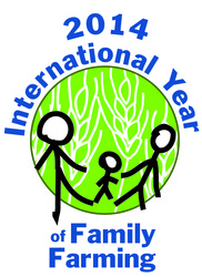 logo shows 2 adults and 1 child in front of globe of grain