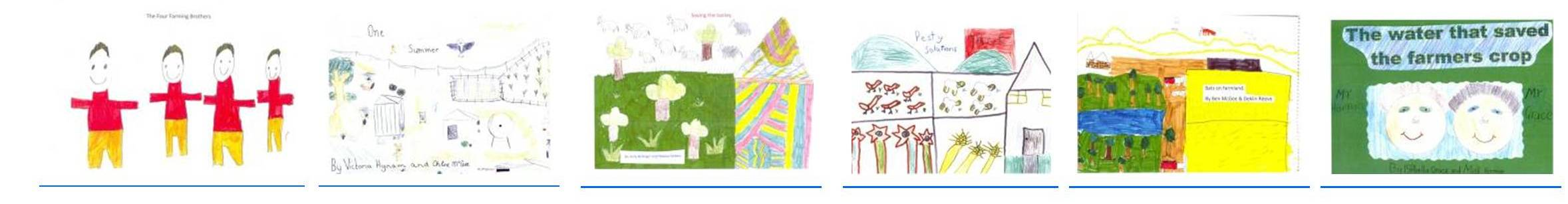 phto of covers of the 6 St Joseph's PS Hopetoun books on Sustainability issues in farming
