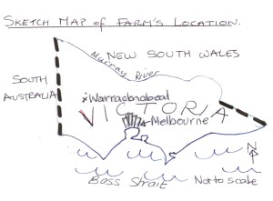 sketch map of Victoria with Warracknabeal in the northwest